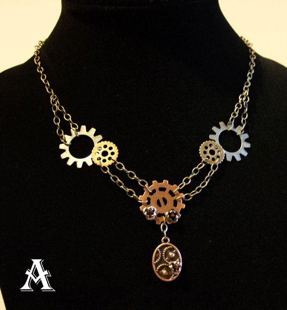 Steampunk Necklace - steampunk jewelry - Victorian inspired gear necklace - brass - silver toned - Kimreys Odd Beauty
