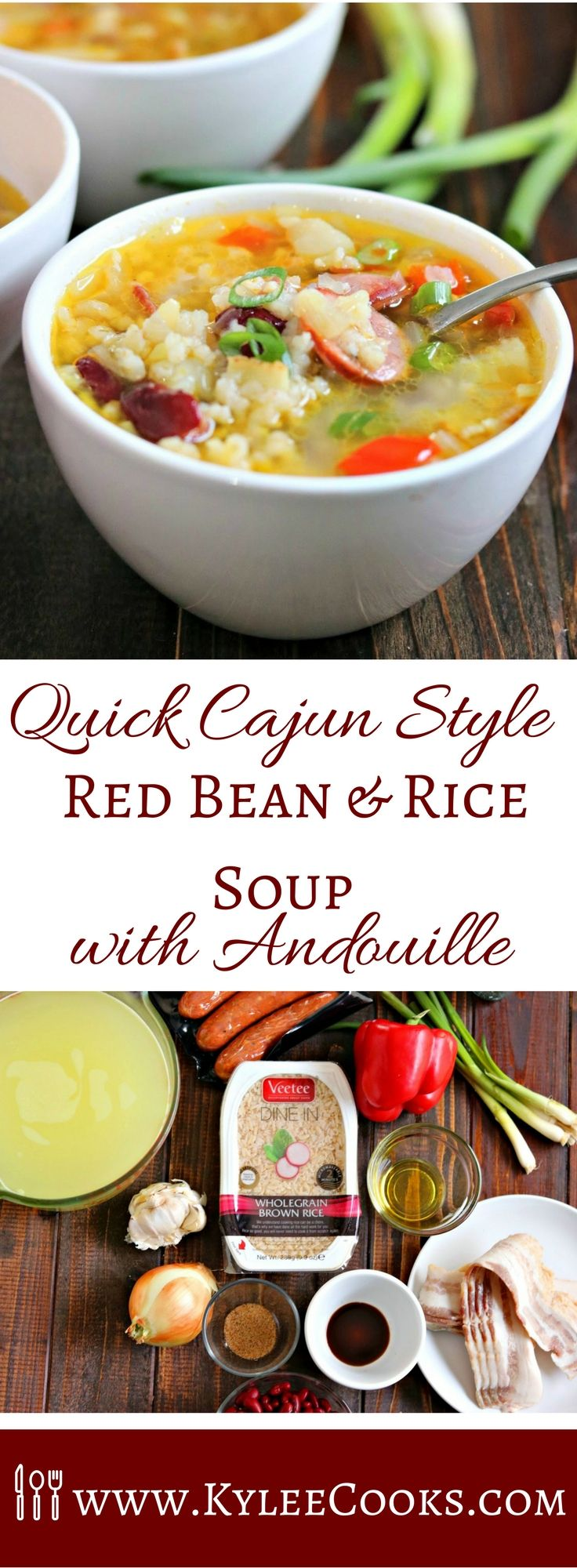 A deliciously spiced, filling soup, packed with bacon, andouille sausage and rice - this Cajun Style Red Bean & Rice Soup is a stick-to-your-ribs soon-to-be favorite! @veeteeusa #sponsored