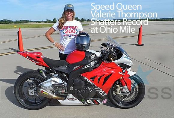 Woman Motorcycle Speed Queen Valerie Thompson Shatters Record at Ohio Mile