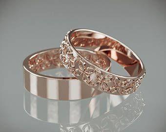 14K Weißgold keltische Blumenhochzeit Ringe Set | Handgefertigte 14k weißes gold keltische Blume Hochzeitsringe | Seine und ihre Eheringe Set