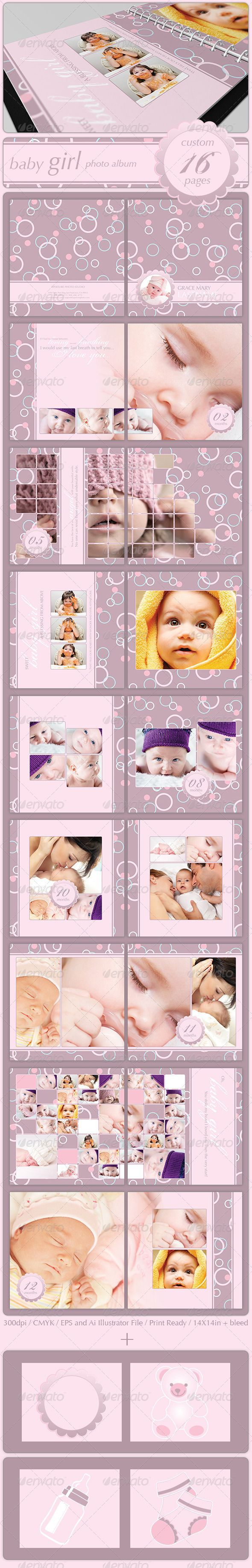 Baby Girl Photo Album This is a print ready 16 pages album. All pages are fully layered and all objects can be moved around that will allow you to create as many pages you like. I hope you will have a lot of fun playing around with this file.