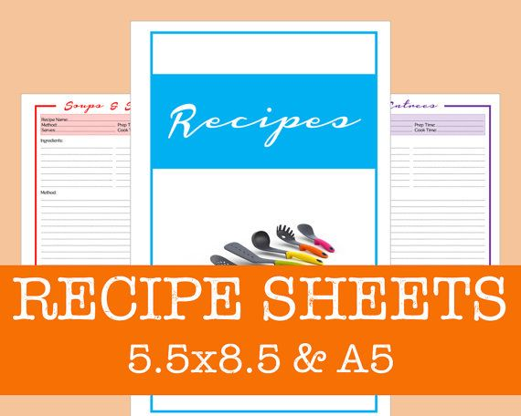 ARC Recipe Binder Sheets PDF Printable  Essential  by OnTaskOnTime