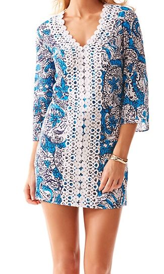 Lilly Pulitzer Brooke V-Neck Tunic Dress in Ariel Blue Hippy Hippy Shake