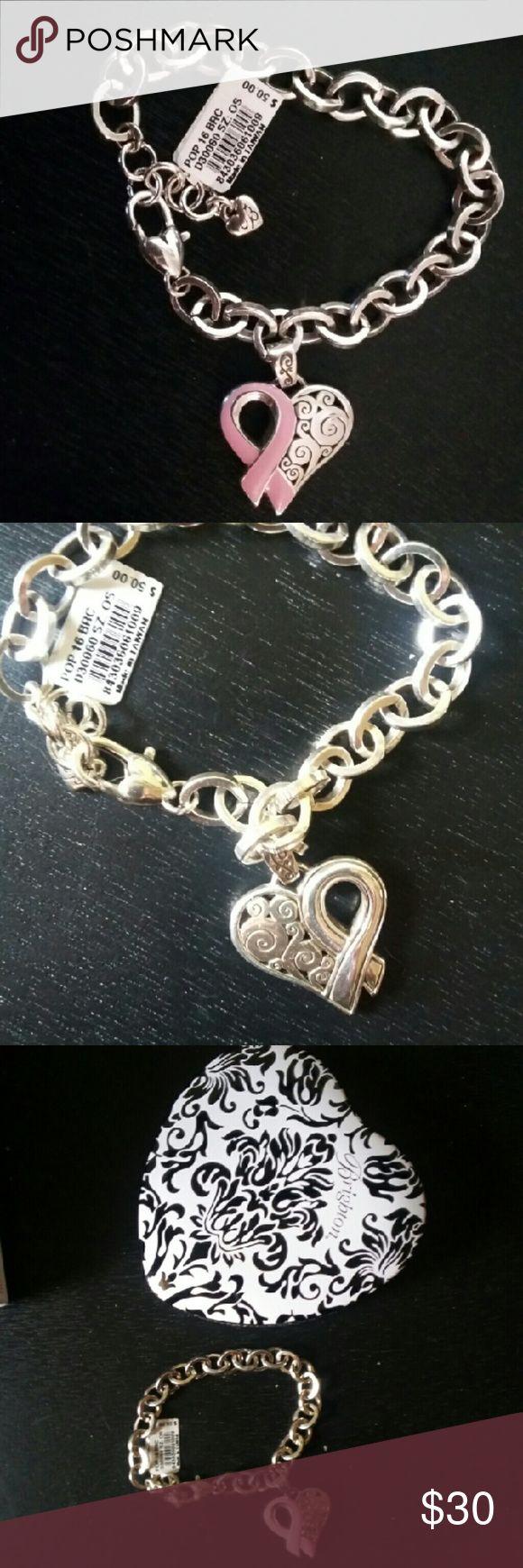 Brighton Heart bracelet breast cancer ribbon Brighton Heart bracelet breast cancer awareness ribbon  New.w.tag and box Brighton Jewelry Bracelets