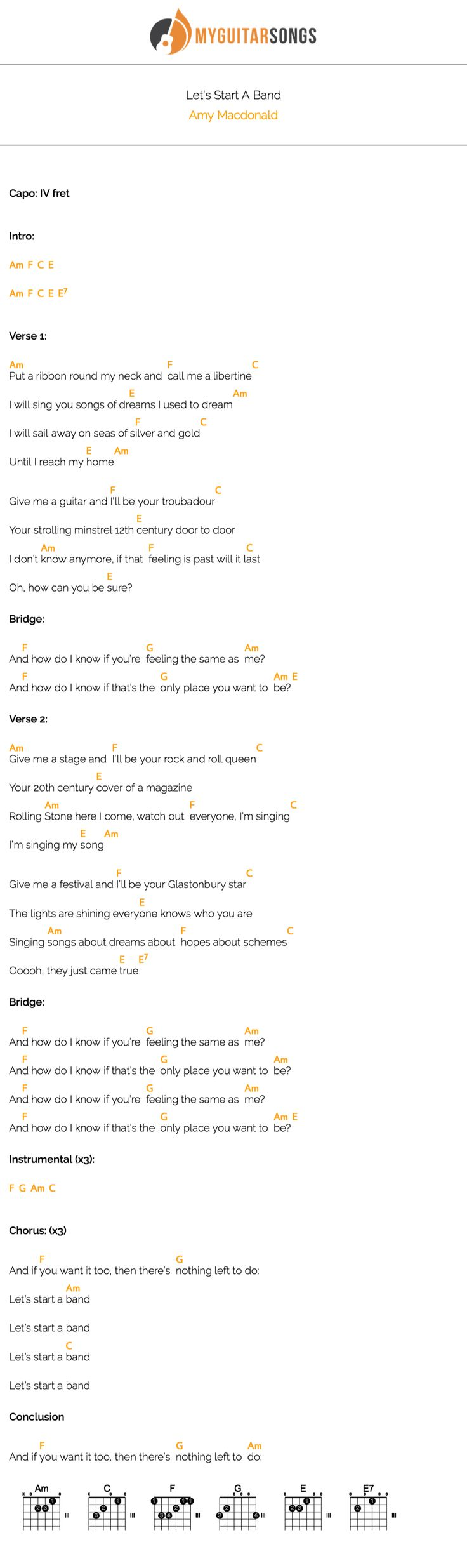 52 best my guitar songs images on pinterest guitars mike d start strumming some chords of its lets start a band by amy macdonald create your own beautiful pdf songbook with a simple and free online tool hexwebz Gallery