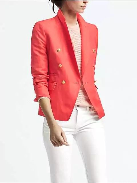 The perfect pop for white denim, a navy pencil skirt, or almost anything,  this Coral Linen-Blend Blazer features double-breasted styling with shiny crested buttons and adds preppy polish to whatever you want to pair it with. This a classic that can live in your wardrobe for years to come.