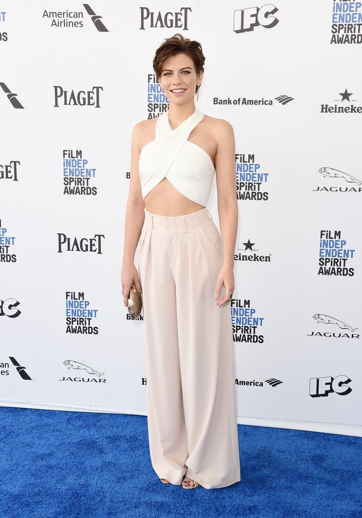 Pin for Later: See Every Gorgeous Arrival From the Spirit Awards Lauren Cohan Wearing Alice + Olivia and Schutz shoes.