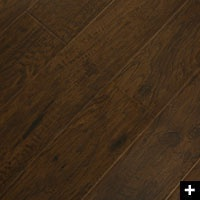 Hickory Chocolate Laminate from costco at $1.79/sqft with padding