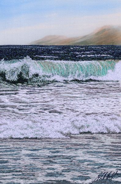 "Breakers, 6 x 4"", by Alison Holt.  Machine stitching on painted silk."