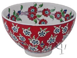 Turkish Pottery: Iznik Design Ceramic Bowl