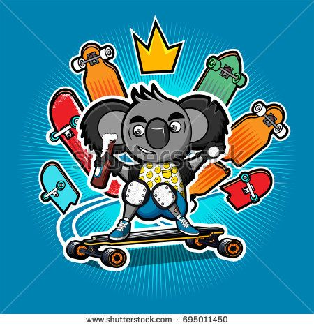 Cartoon Koala makes a slide on the longboard