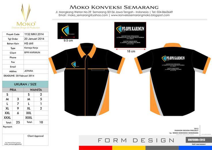 Kemeja Seragam PD BPR KARIMUN Kepulauan Riau - Indonesia. Model Baju Kerja Kombinasi Warna Hitam - Putih - Orange + Bordir Logo & Tulisan Perusahaan.