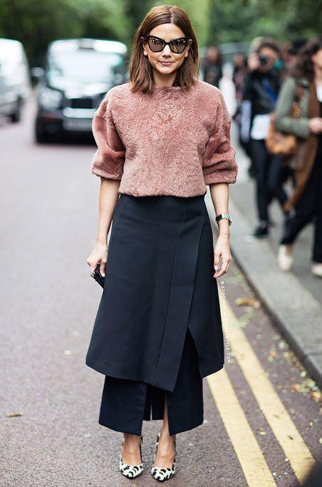 la modella mafia Vogue Australia fashion editor Christine Centenera 2013 street style - Topshop Unique top, Prada skirt over a Junya Watanab...: