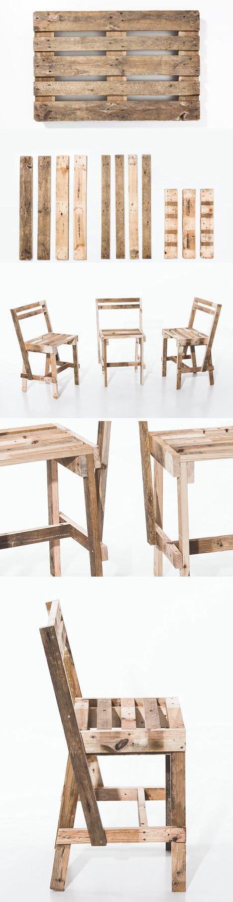 Transformer une #palette en chaise ! http://www.m-habitat.fr/tendances-et-couleurs/tendances-et-nouveautes/transformer-une-palette-en-meuble-de-rangement-3186_A