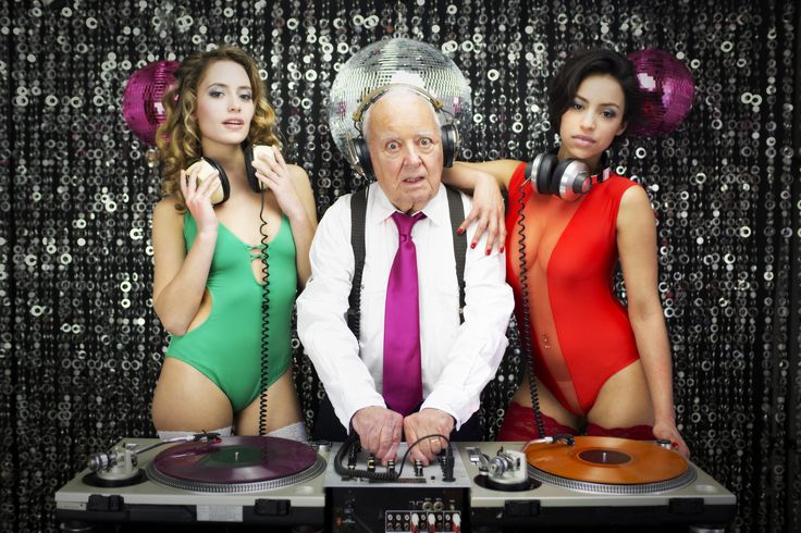 amazing grandpa DJ and his two beauitful gogo dancers