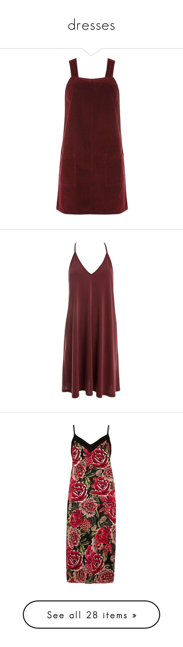 """""""dresses"""" by harthkai on Polyvore featuring dresses, red, pinafore dress, red dress, burgundy red dress, red pinafore dress, pinny dress, vestidos, burgundy and racer back dress"""