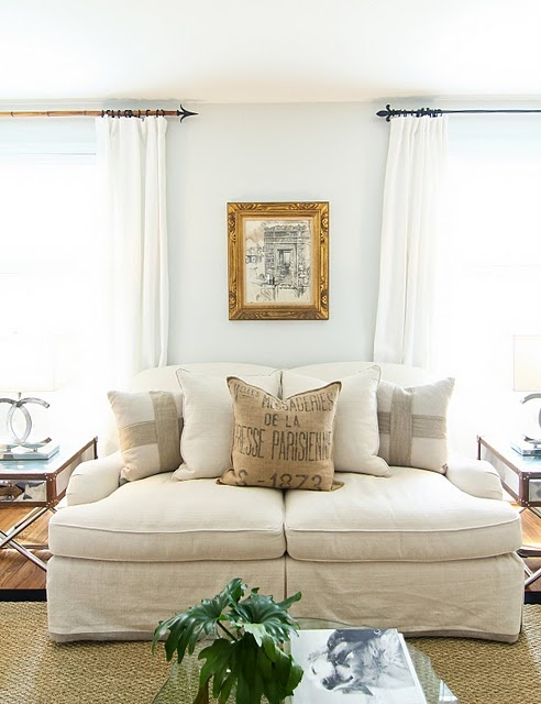 slipcover and pillows