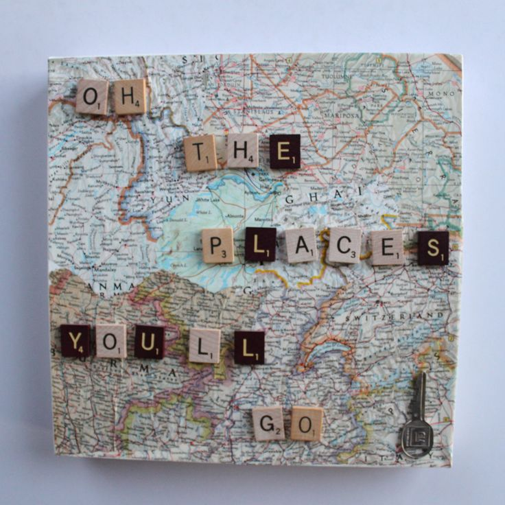Oh The Places You'll Go Quote On Map Canvas.