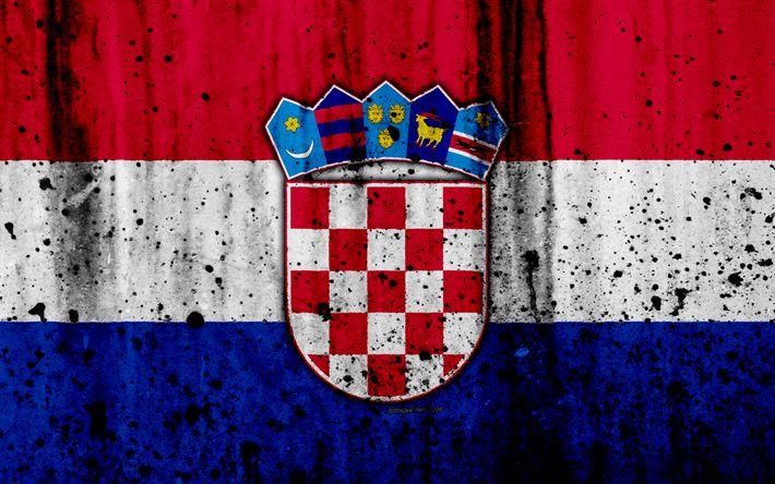 Descargar fondos de pantalla El croata bandera, 4k, el grunge, el de la bandera de Croacia, Europa, Croacia, simbología nacional, el escudo de armas de Croacia, los croatas escudo de armas