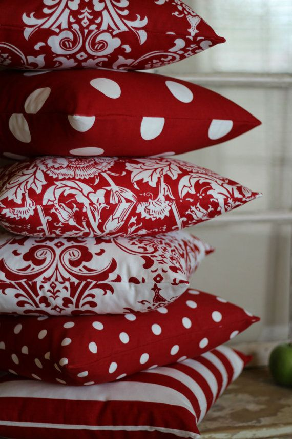 Red and White Large Polka Dot Throw Pillow by PillowPeels