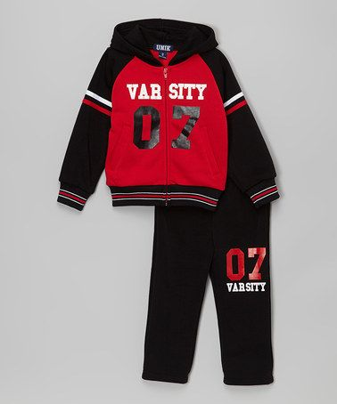 Another great find on #zulily! Black 'Varsity' Hoodie & Track Pants - Toddler & Boys #zulilyfinds