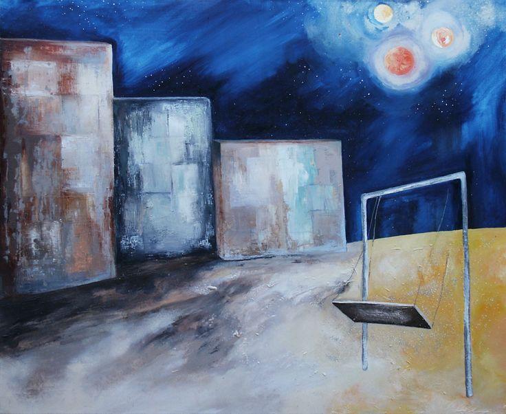 """""""Παιδική χαρά"""" λάδι σε καμβά 120x100cm. """"Playground"""" oil on canvas 120x100cm"""