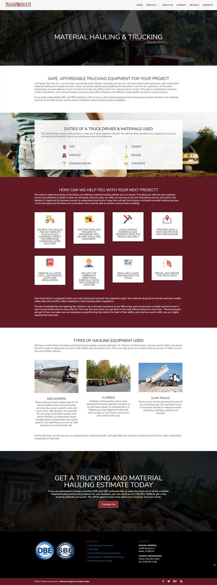 Our web design and content for Premier Services, Inc's material hauling & trucking page.