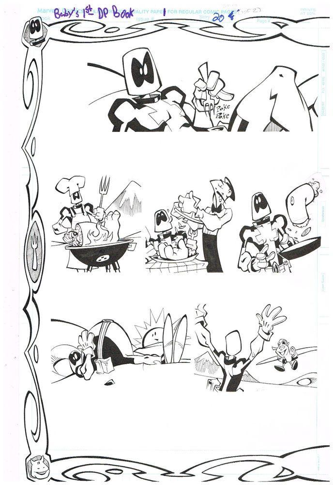 Original art: BABYS 1ST DEADPOOL BOOK Pages 20 & 21! 2-page splash by Pete Woods  http://www.ebay.com/itm/Original-art-BABYS-1ST-DEADPOOL-BOOK-Pages-20-21-2-page-splash-Pete-Woods-/301719638227?roken=cUgayN&soutkn=zc6cfQ