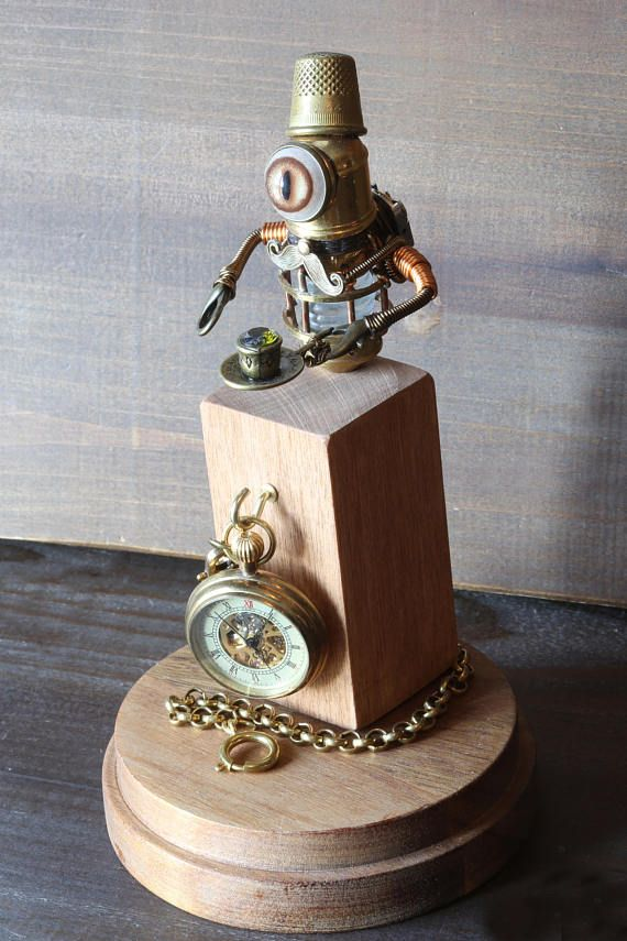 Little Steampunk Minion Robot Sculpture with Fez Mustache and
