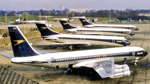 Three BOAC Vickers Standard VC10s (Series1100) parked at London Heathrow Airport, with a stablemate 707.