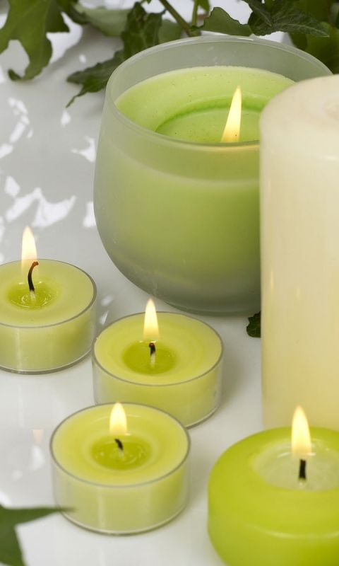 480x800 Wallpaper candles, aromatherapy, leaves, massage