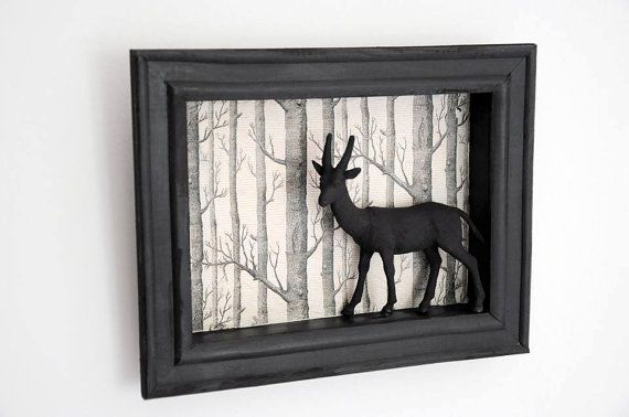 Shadow box oh deer Handmade shadow box with decoupage . ***Fun and stylish wall art for your home !!*** I used decoupage for the background of