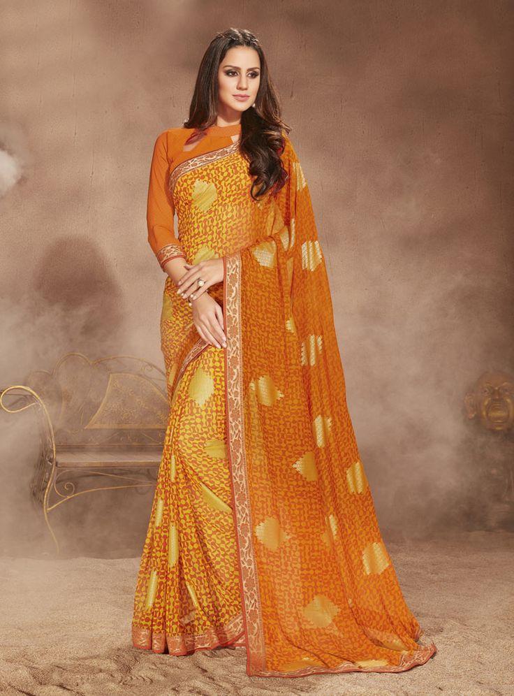 Orange Georgette Printed Saree With Blouse 81131