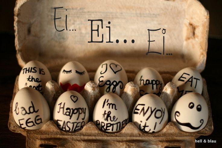 Mit Eddig beschriftete Eier zu Ostern ist mal etwas anderes. Schöne alte Schreibschrift, Gesichtern &Co. verleihen den weißen Eiern Leben.