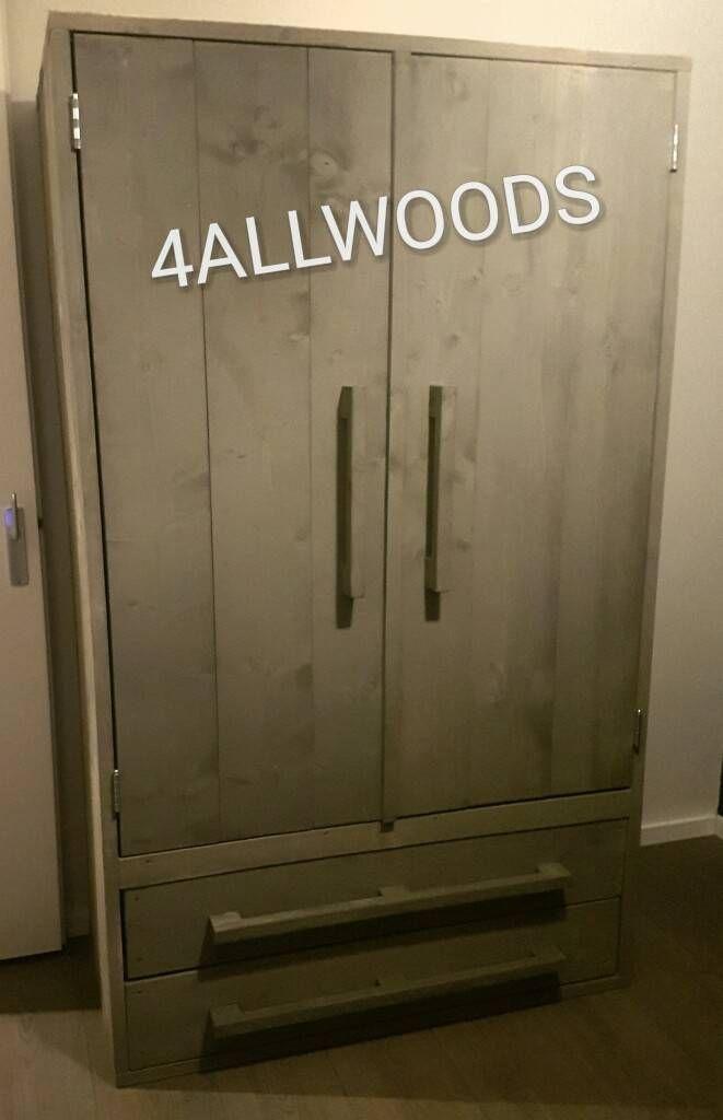 Steigerhouten kledingkast Grey wash 120 cm breed 2 Lades