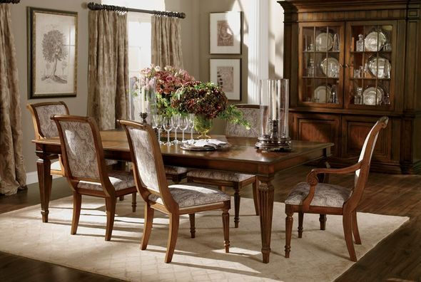 Dining room shop by room ethan allen dinning room for Formal dining room window treatments
