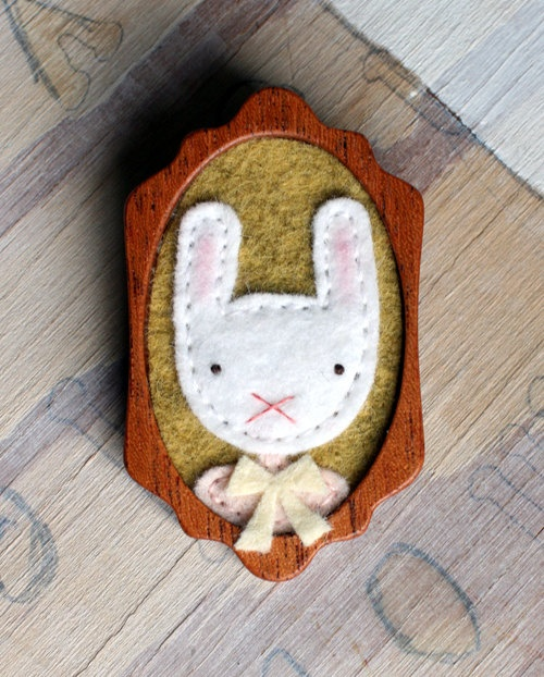 Ms. Bunny. Mahogany and felt brooch. $30.00, via Etsy.