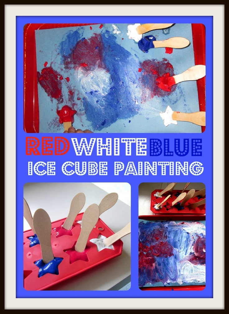 Mama's Little Muse: Patriotic Ice Cube PaintingKids Co Op, Kids Coops, Ice Cubes Painting, Pop Tarts, Patriots Pop, Linky Parties, Patriots Ice, Frozen Painting, Co Op Linky