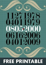 Just made a darling print for my sweet nephew! It has his two dog's birthdates,his birthdate, and mine, his favorite aunt. lol He's gonna love it! This printable has so many creative options! I'm having a blast! Can't wait to frame them and share them!