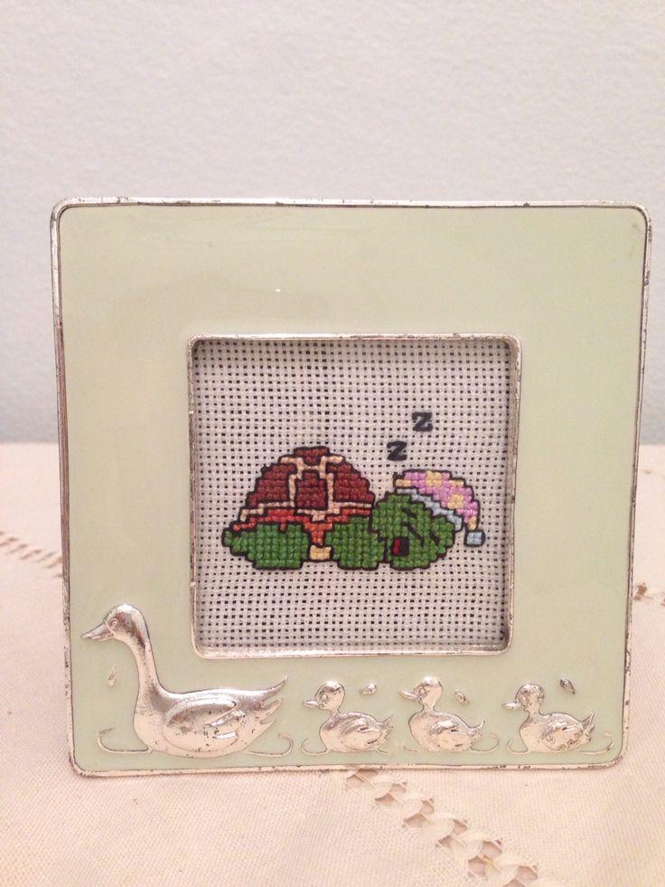 Etamin kaplumbaga cerceve cross stitch turtle