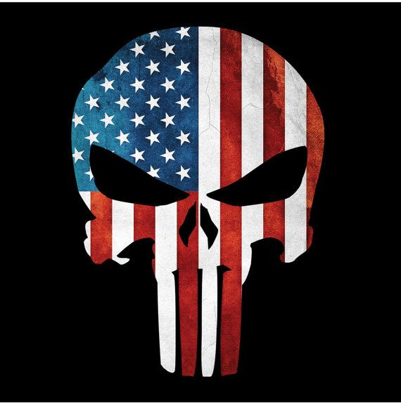 Punisher Skull American Flag Military Decal by MillerGraphicsVA