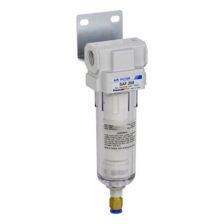 PneumaticPlus SAF200-N02BD Miniature Compressed Air Particulate Filter 1/4 inch NPT, 10 Micron - Poly Bowl, Auto Drain, Bracket