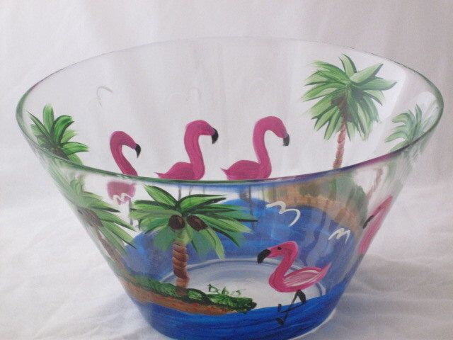 Hand Painted Serving Bowl with Flamingos by artisticangel on Etsy https://www.etsy.com/listing/100957520/hand-painted-serving-bowl-with-flamingos