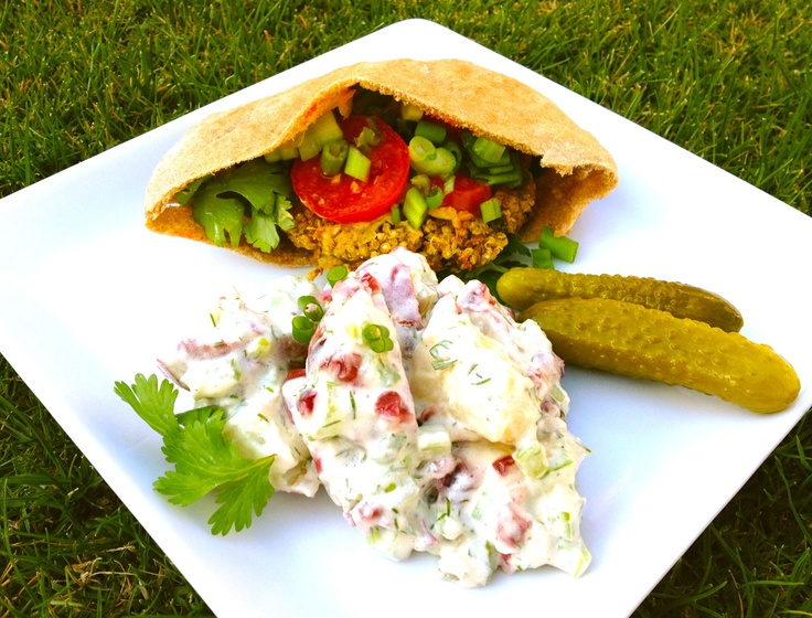 Indian Spiced Quinoa Burger and Potato Dill Salad from The Vegan Spork: Cuisine Internationale, Dill Salad, Vegans Spork, Potatoes Dill, Spices Quinoa, Indian Spices, Vegans Burgers, Quinoa Burgers, Desi Side