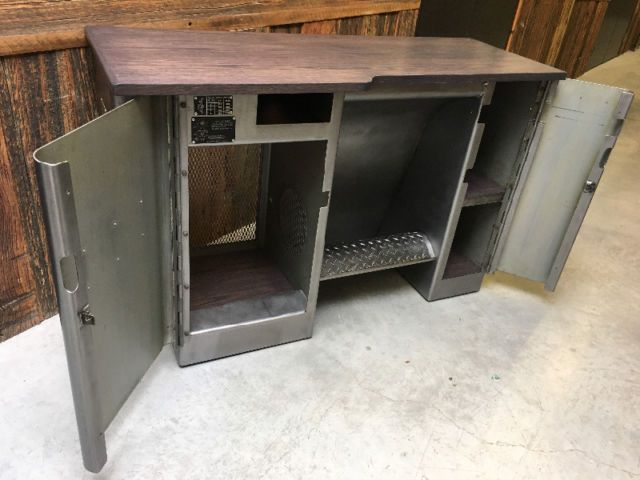 vintage industrial hardinge lathe cabinet. heavy comercial grade design from the 60's. would make an amazing bar or cash desk. -fully stripped and refinished. -newly fabricated oak top. -53x20x34