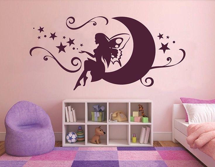 Wandtattoo Madchen Baby Mondfee Wandtattoo Prinzessin Kinderzimmer Fee Auf Dem Mond St Dekorative Wandmalereien Malerei Schlafzimmer Wande Wandkunst Wohnzimmer