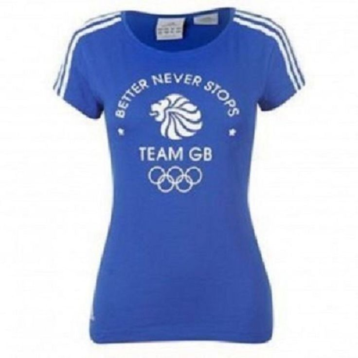 adidas Olympics Team GB 3 Stripe Ladies Blue T Shirt – Better Never Stops #adidas