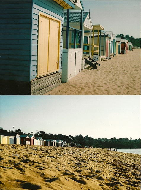 Colourful Beach Huts in Mount Martha, Victoria bathing in the sun of the late afternoon.    Taken on a Praktica MTL 3
