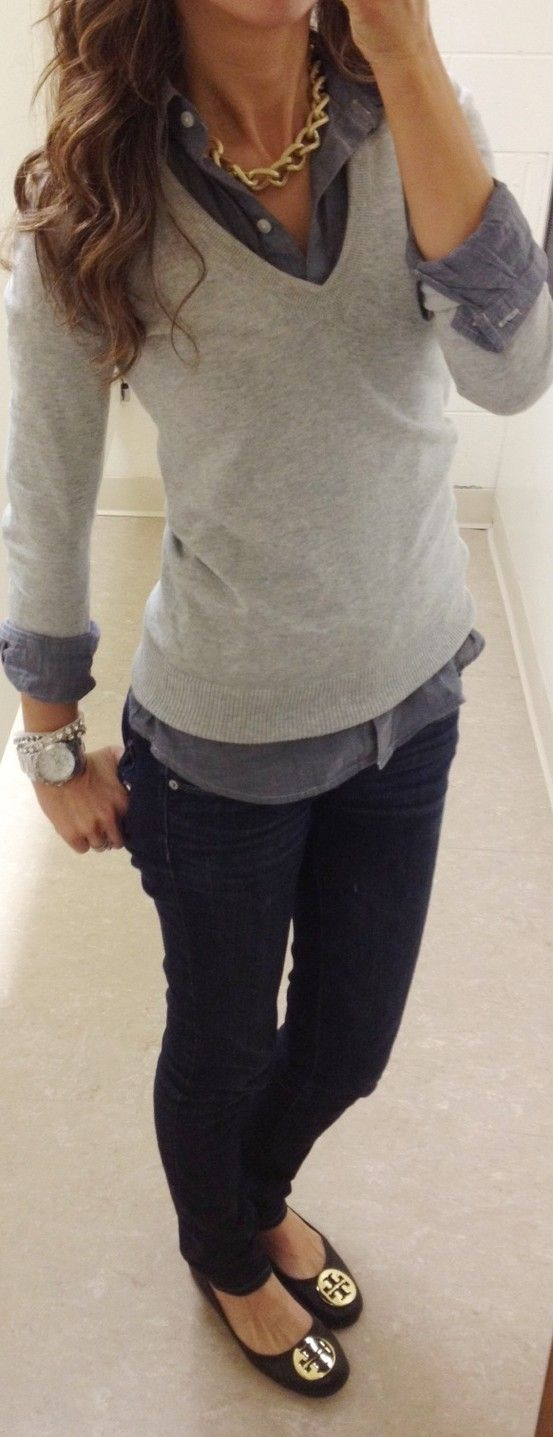 How to layer this fall... Casual Friday look.. - Click image to find more Women's Fashion Pinterest pins
