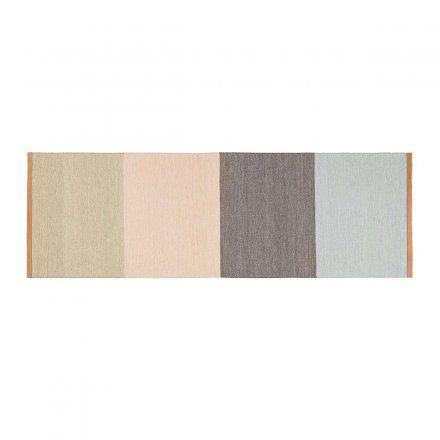 Teppich Fields 80x250 cm grau, blau, beige Wolle